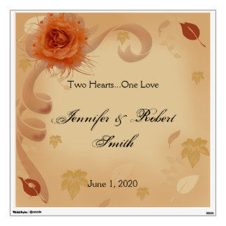 Orange Rose in the Fall Wedding Wall Cling Room Stickers