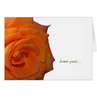 "Orange Rose ""Love You"" Blank Greeting Card"