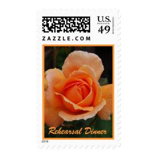 Orange Rose Rehearsal Dinner Bride and Groom Postage Stamps