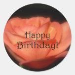Orange Rose Round Sticker