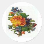 Orange Rose Round Stickers