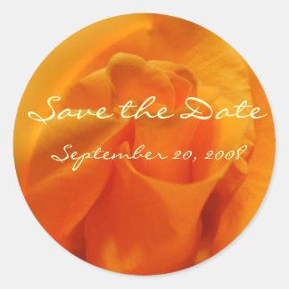 "Orange Rose ""Save the Date"" Classic Round Sticker"