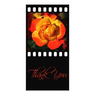 Orange Rose Thank You Photo Card