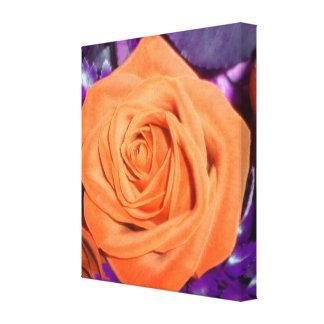 Orange Rose w/Purple Foliage Wrapped Canvas Canvas Prints