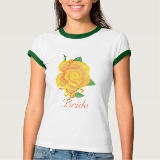 Orange Rose Watercolor Painting, Bride t shirts