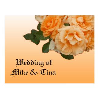 orange rose wedding invitation card postcard