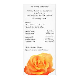 Orange Rose Wedding Program Custom Rack Cards