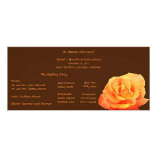 Orange Rose with Brown Accent Wedding Program Personalized Rack Card