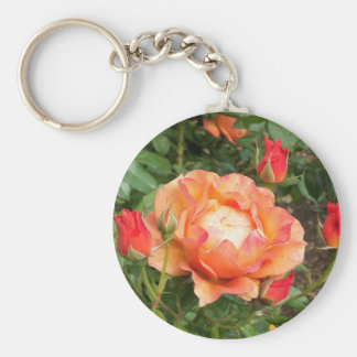 Orange Rose with encircling Rose Buds Basic Round Button Keychain