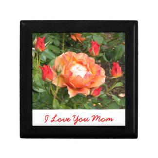 Orange Rose with encircling Rose Buds Jewelry Box