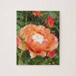 Orange Rose with encircling Rose Buds Jigsaw Puzzles