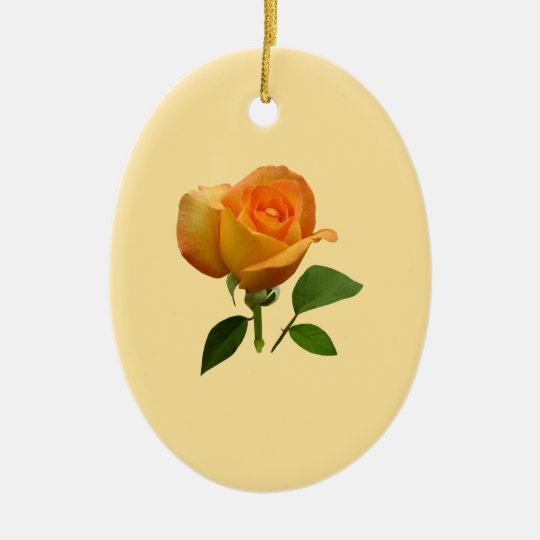 Orange Rosebud Ceramic Ornament