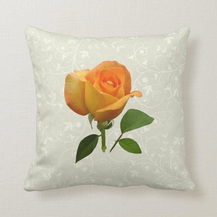 Orange Rosebud Throw Pillow