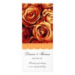ORANGE ROSES and LACE Wedding Program Custom Rack Cards