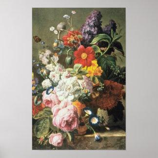 Orange Roses, Dahlias et Lilas, Moise Jacobber flo Print