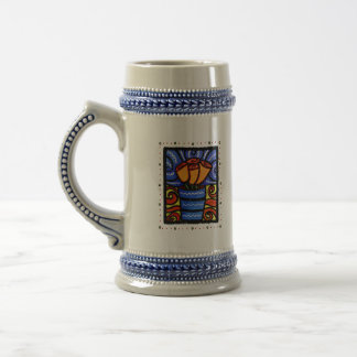 Orange Roses in Blue Vase Colorful Stein Mug