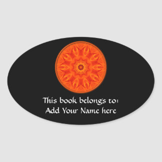 Orange Roses kaleidoscope Oval Sticker