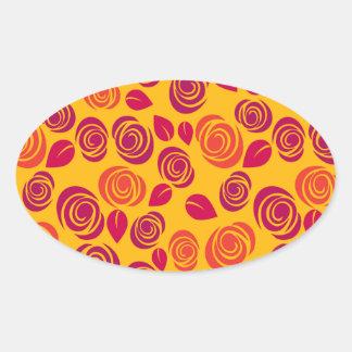 Orange roses pattern oval sticker