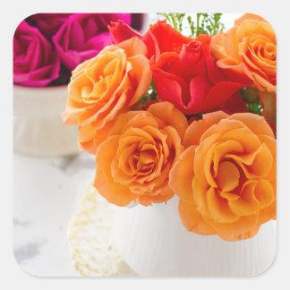 orange roses square sticker