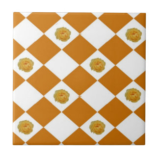 Orange Roses Small Square Tile