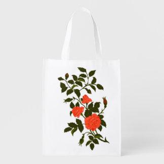 Orange Roses Vintage Rambling Rose Image Grocery Bag