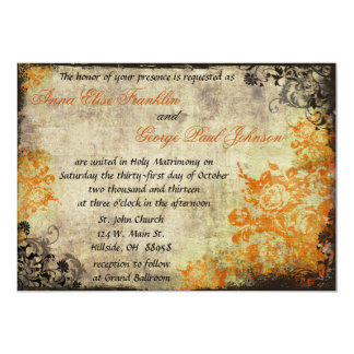 Orange Roses Vintage Wedding Invitation. 5x7 Paper Invitation Card