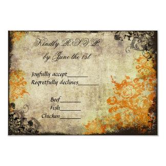 Orange Roses Vintage Wedding RSVP 3.5x5 Paper Invitation Card