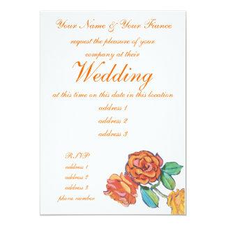 Orange roses wedding invitation