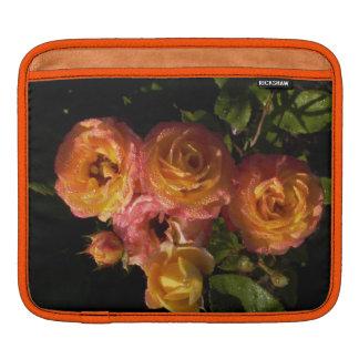 orange roses with dew iPad sleeve
