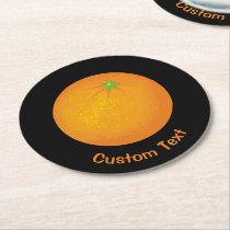Orange Round Paper Coaster