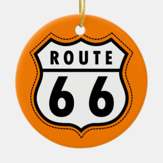 Orange Route 66 Road Sign Double-Sided Ceramic Round Christmas Ornament