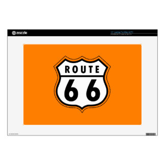 Orange Route 66 Road Sign Laptop Decal