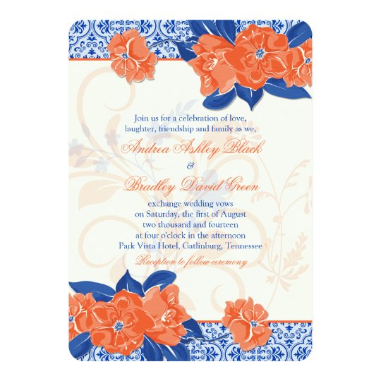 Orange Royal Blue Floral Wedding Invitation Zazzle Com