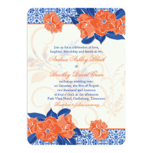 Orange Royal Blue Fl Wedding Invitation