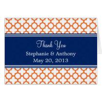 Orange, Royal Blue Quatrefoil  Wedding Thank You