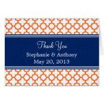 Orange, Royal Blue Quatrefoil  Wedding Thank You Greeting Card