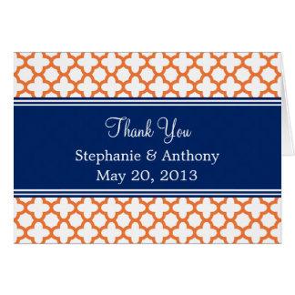 Orange, Royal Blue Quatrefoil  Wedding Thank You Card