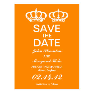 Orange Royal Couple Save the Date Postcard