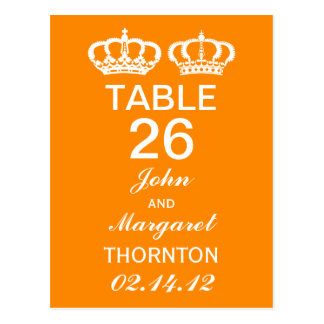 Orange Royal Couple Table Numbers Postcard