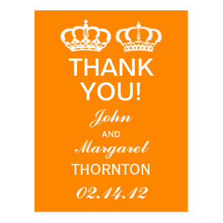 Orange Royal Couple Thank You Postcard