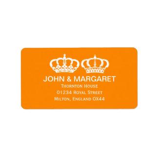 Orange Royal Couple Wedding Address Label
