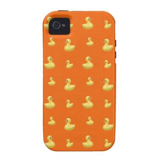 Orange rubber duck pattern iPhone 4 case
