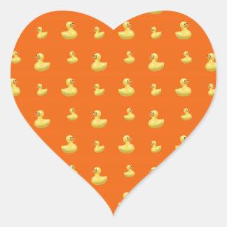 Orange rubber duck pattern heart sticker