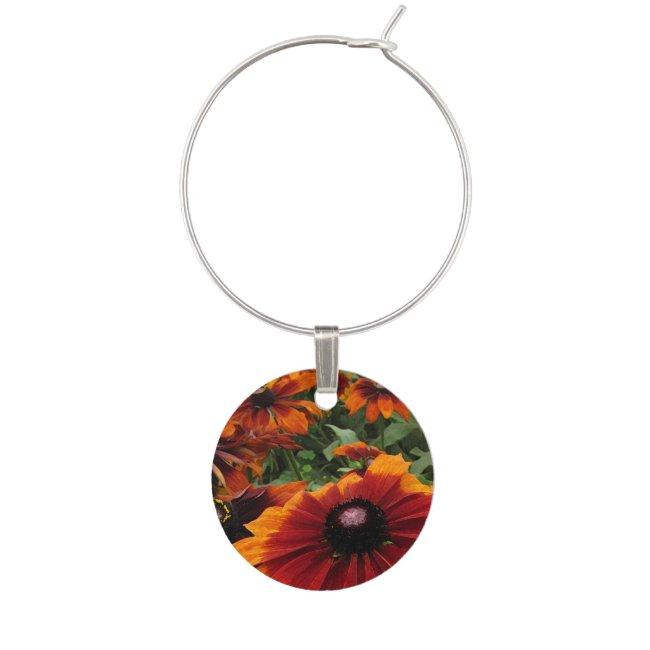 Orange Rudbeckia Floral Garden Flower Wine Charm