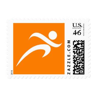Orange Running Runner Postage Stamp