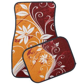 Orange Rust and White Grunge Floral Car Mat