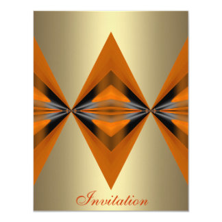 Orange Rust Geo Shapes Bronze Card