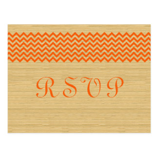 Orange Rustic Chevron RSVP Postcard