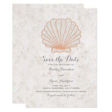 Beach Themed Orange Rustic Seashell Save the Date Invite