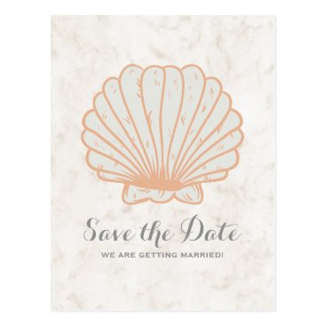 Beach Themed Orange Rustic Seashell Save the Date Postcard